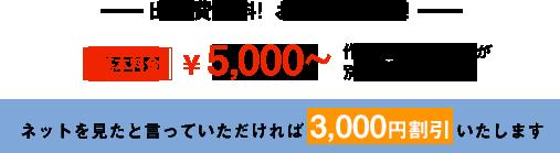 ネットを見たと言っていただければ3000円割引します!